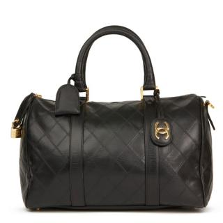 Chanel Vintage Black Leather Boston 35 Bag