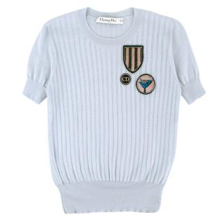 Christian Dior Blue Ribbed Knit Cashmere, Wool & Silk T-Shirt
