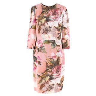 Dolce & Gabbana Pink Floral Midi Dress