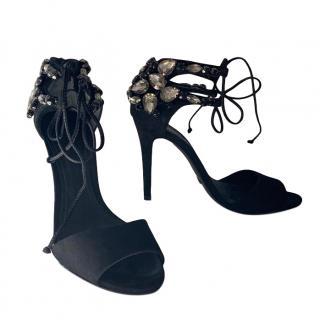 Schutz Black Crystal Embellished Sandals