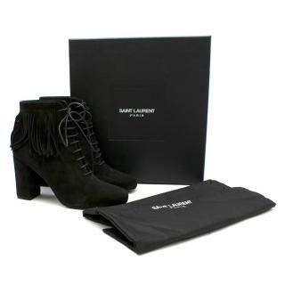 Saint Laurent Black Suede Boots with Fringe