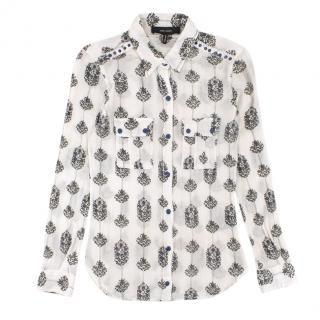 Isabel Marant Sheer White Floral Print Shirt