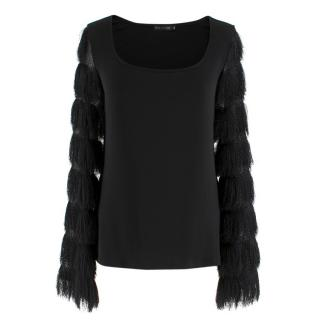 Anne Fontaine Black Frill-sleeved Top