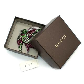 Gucci Multicolour Crystal Embellished Bird Brooch