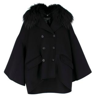 Salvatore Ferragamo Black Cashmere Coat with Fox Fur Collar