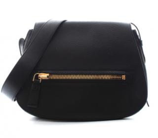 Tom Ford Black Leather Messenger Bag