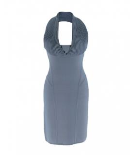 Herve Leger Paris Blue Bandage Halterneck Dress