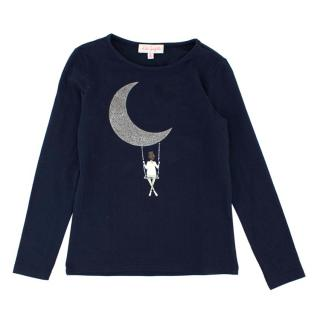 Lili Gaufrette Girls 8Y Navy Moon Print Top