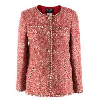 Chanel Wool & Silk Blend Red Tweed Jacket