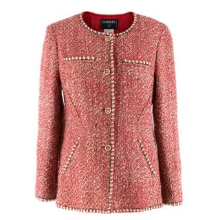 Chanel Wool & Silk Blend Red Tweed Jacket