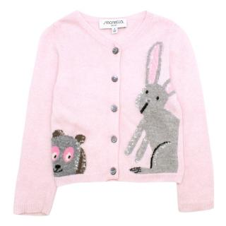 Simonetta Mini Girls 3Y Pink Knitted Cardigan.