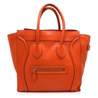 Celine mini luggage handbag in drummed calfskin