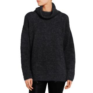 Saint Laurent Mohair Distressed Turtleneck Sweater