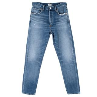 Citizens of Humanity High Rise Medium Blue Crop Jeans