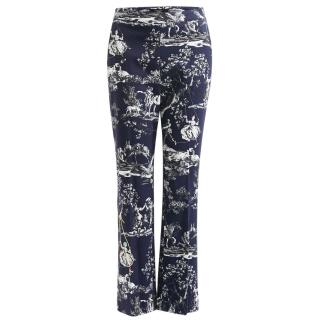 Max Mara trophy day printed stretch cotton pique trousers