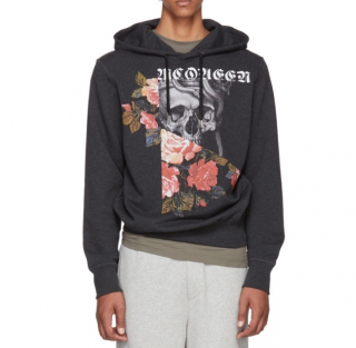 Alexander McQueen skull & rose hooded sweatshirt
