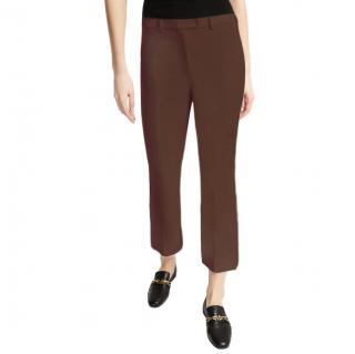 S'Max Mara slim-fit stretch cotton blend brown trousers
