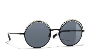 Chanel Faux-pearl Embellished Round-frame Sunglasses