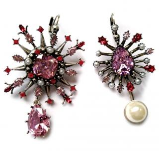Alexander McQueen Pink silver-tone, Crystal And Faux Pearl Earrings