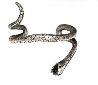 Saint Laurent Silver Plated Snake Bracelet
