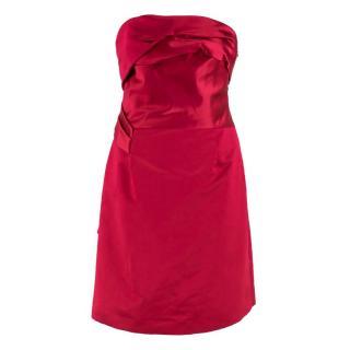 Celine Red Satin Strapless Dress