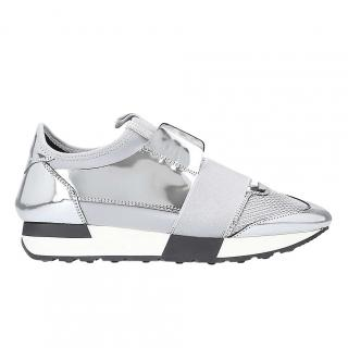 Balenciaga Race Runners Metallic Leather & Mesh Trainers