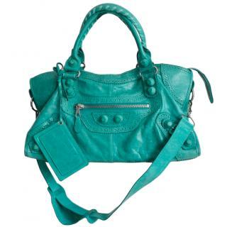 Balenciaga green brogue city bag