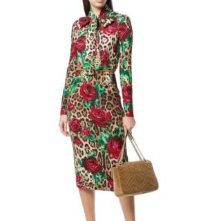 Dolce & Gabbana Leopard & Rose Print Midi Dress