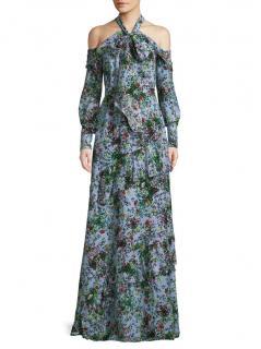 Erdem Alisa Floral Crepe De Chine Cold-shoulder Dress