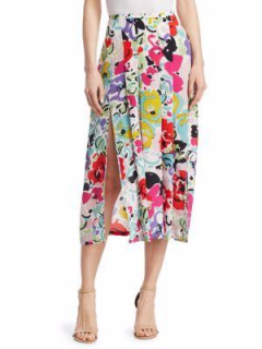 Rixo Multi Color Brush Stroke 'Georgia' Silk Skirt