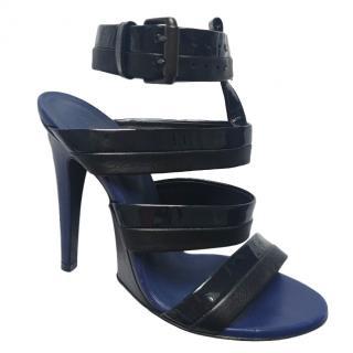 Bottega Veneta Blue & Black Cage Sandals