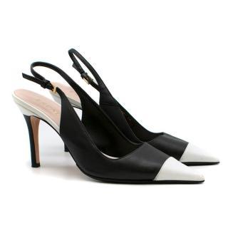 Escada Black and White Slingback Sandals