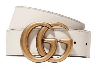 Gucci White GG Logo Leather 4cm Belt