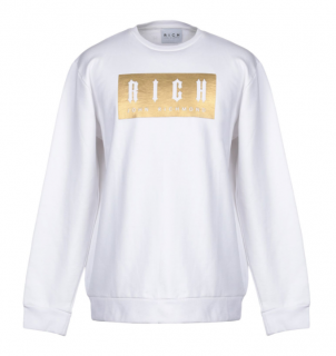 John Richmond White & Gold Logo Sweatshirt