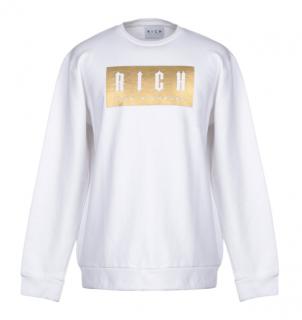 John Richmond White & Gold Logo Sweatshirt