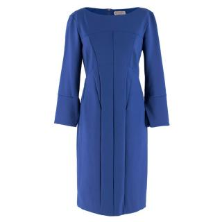 Sportmax Blue Fitted Seam and Stitch Detail Shift Dress