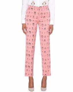 Shrimps Pink Andre Face Print Wide-leg Trousers
