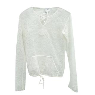 Chanel Sheer Lace Sweatshirt