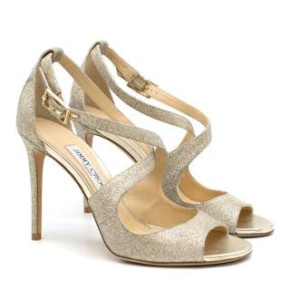 Jimmy Choo Lang 100mm gold glitter-lame sandals
