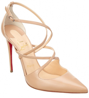 Christian Louboutin Crossfliketa 100 Leather Pump in Beige