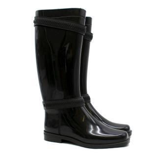 Givenchy Black Zip Slicker Knee High Rain Boots
