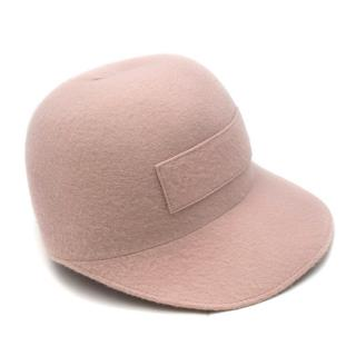 Gabriela Hearst Blush Pink Cashmere Felt Cap Hat