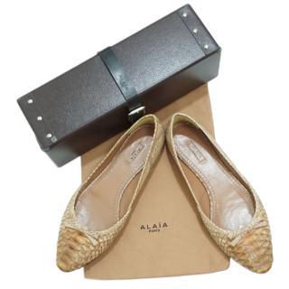 Alaia Beige Python Ballet Flats