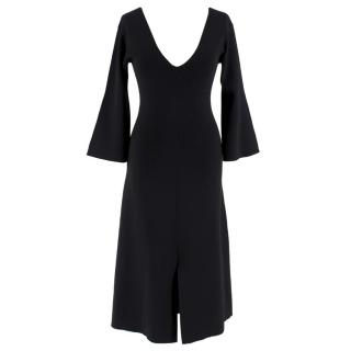 By Malene Birger Black Ribbed Knit V-Neck Dress