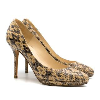 Jimmy Choo Leopard Print Snakeskin Cosmic 100mm Pumps