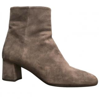 Prada Taupe Suede Ankle Boots