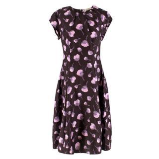 Nina Ricci Floral Print Silk Dress