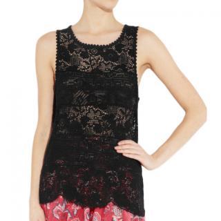 Isabel Marant Etoile Black Rosalie Crochet Tank