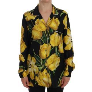 Dolce & Gabbana yellow tulip print pyjama top