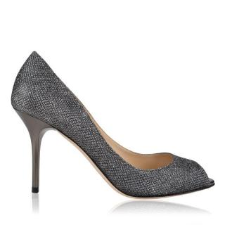 Jimmy Choo Evelyn Glitter Peep Toe Anthracite Pumps